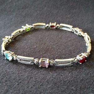 Vintage Sterling Silver Art Deco Gemstone Bracelet